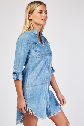 Distressed Curved Hem Denim Dress
