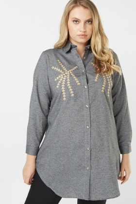 Embroidered Long Sleeve Shirt