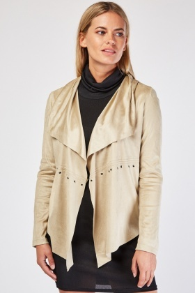 Eyelet Trim Waterfall Suedette Jacket