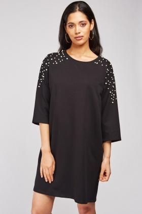Faux Pearl Embellished T-Shirt Dress