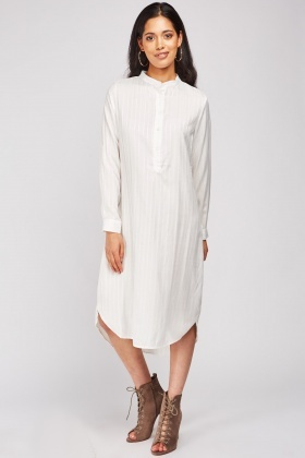 Mandarin Collar Tunic Striped Dress