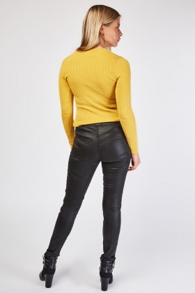 Petite Shimmery Skinny Black Trousers