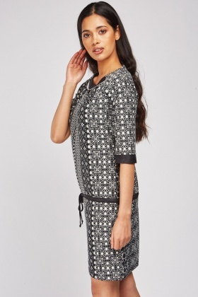 Printed Drawstring Waist Dress