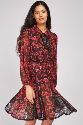 Printed Lace Panel Godet Dress