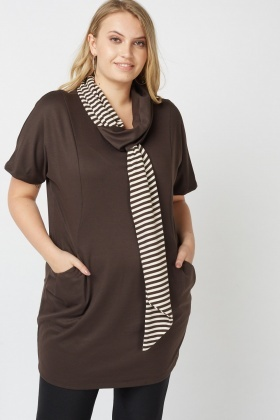 Stripe Trim Front Long Top