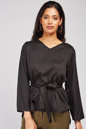 V-Neck Sateen Blouse
