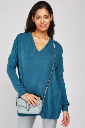 V-Neck Teal Knit Sweater