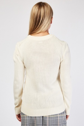 V-Patterned Knit Jumper