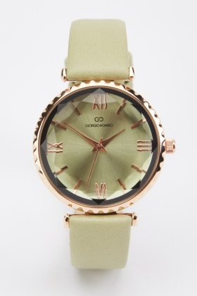 Faux Leather Skinny Strap Watch