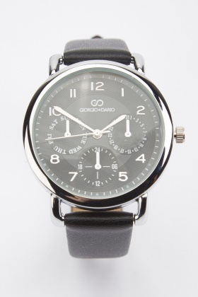 Faux Leather Strap Watch