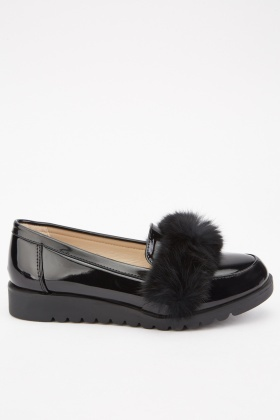 Fur Trim Hi-Shine Loafers