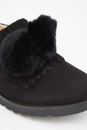 Fur Trim Slip On Loafers