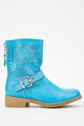Laser Cut Buckled Boots