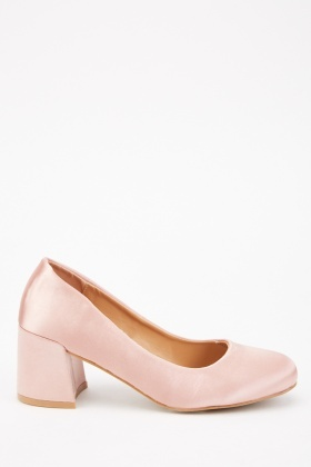 Sateen Block Heel Pumps