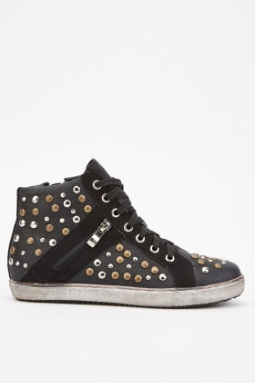 Studded High Top Sneakers