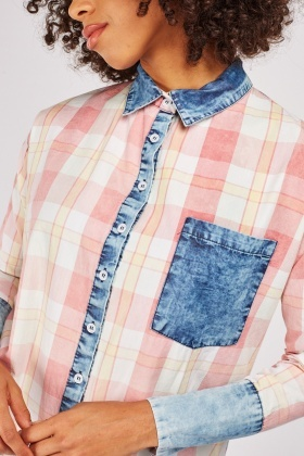 Checkered Single Pocket Front Shirt
