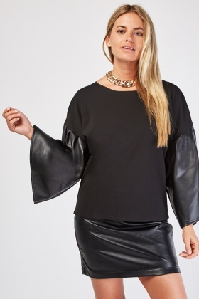 Flared Faux Leather Sleeve Top