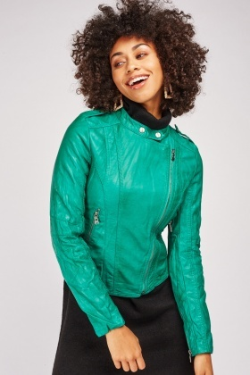 Green Crinkle Biker Jacket