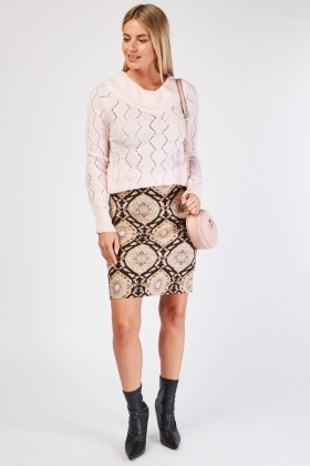 Jacquard Pattern Mini Skirt
