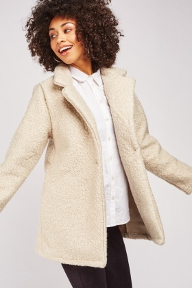 Lapel Front Off White Teddy Jacket