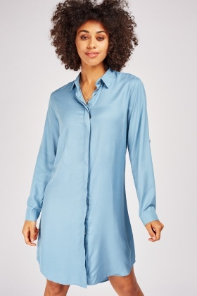 Midi Plain Shirt Dress