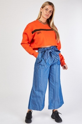 Pin Striped Light Denim Culottes