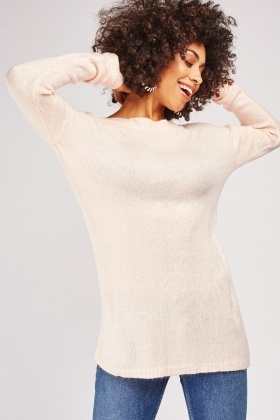 Plain Fine Knit Long Sweater