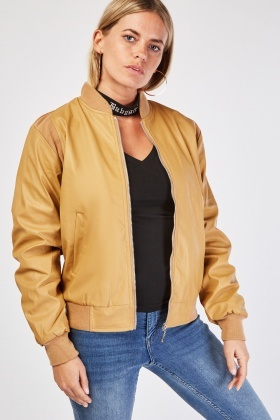 Ribbed Trim PVC Leather Jacket