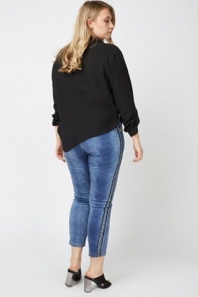 Skinny Jeggings With Lurex Side