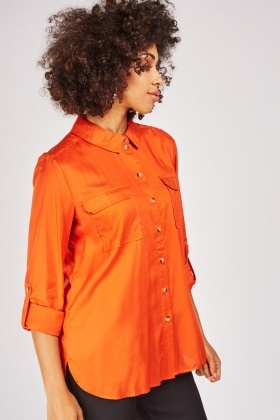 Twin Flap Pockets Front Orange Shirt