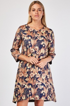 Vintage Print Neuprene Shift Dress