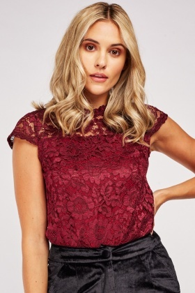 Cap Sleeve Lace Overlay Top