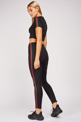 Crop Top And Striped Side Leggings Set