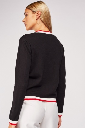 Ribbed Contrast Trim Cardigan