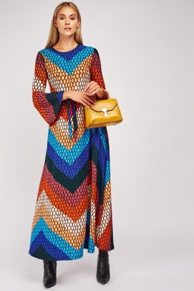 Scale Pattern Maxi Dress