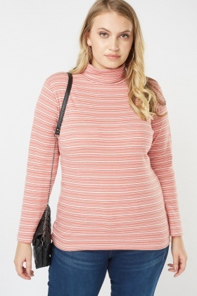 Turtle-Neck Striped Top
