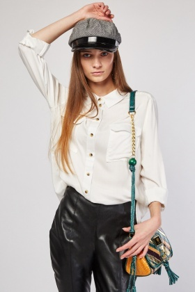 Twin Pocket White Shirt
