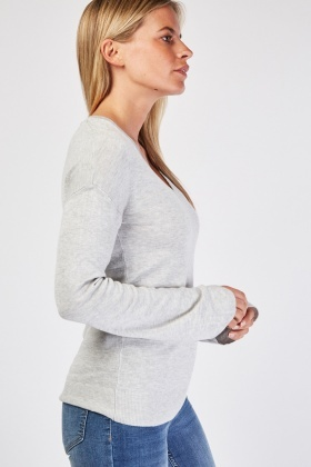 V-Neck Grey Knit Sweater