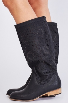 Cutwork Below Knee Slouchy Boots