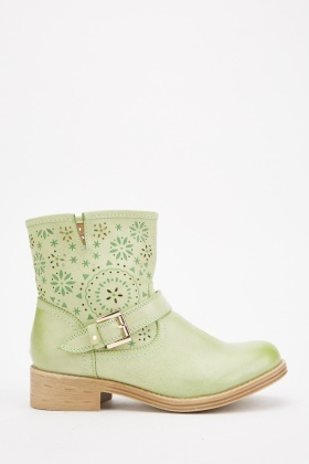 Cutwork Flower Pattern Ankle Boots