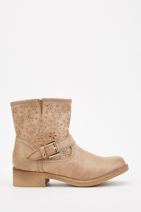 Cutwork Flower Pattern Ankle Boots £5.00