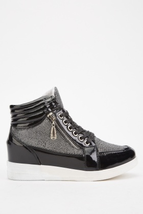 Lace Up Lurex Contrast Trainers