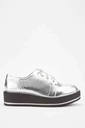 Metallic Mock Croc Platform Shoes