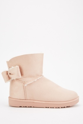 Suedette Bow Side Winter Boots