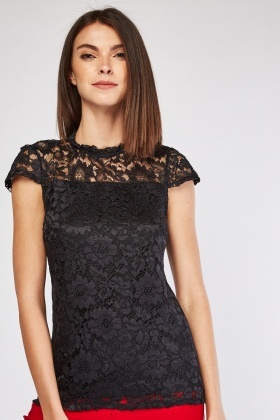 Cap Sleeve Black Lace Top
