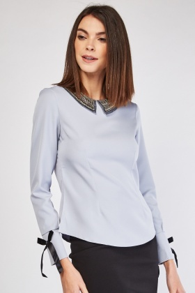 Embellished Collar Trim Blouse