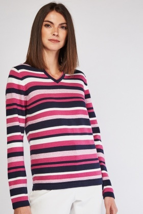 Slit Front Multi Stripe Jumper
