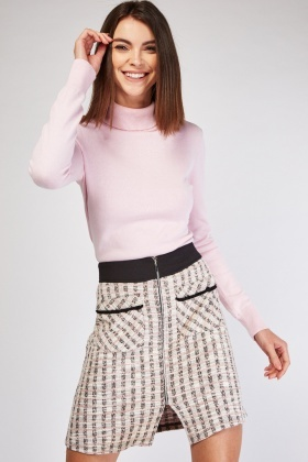 Twin Pocket Front Tweed Skirt