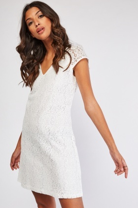 Cap Sleeve A-Line Lace Dress