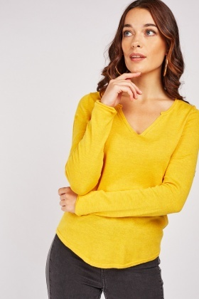 Slit Front Plain Knit Top